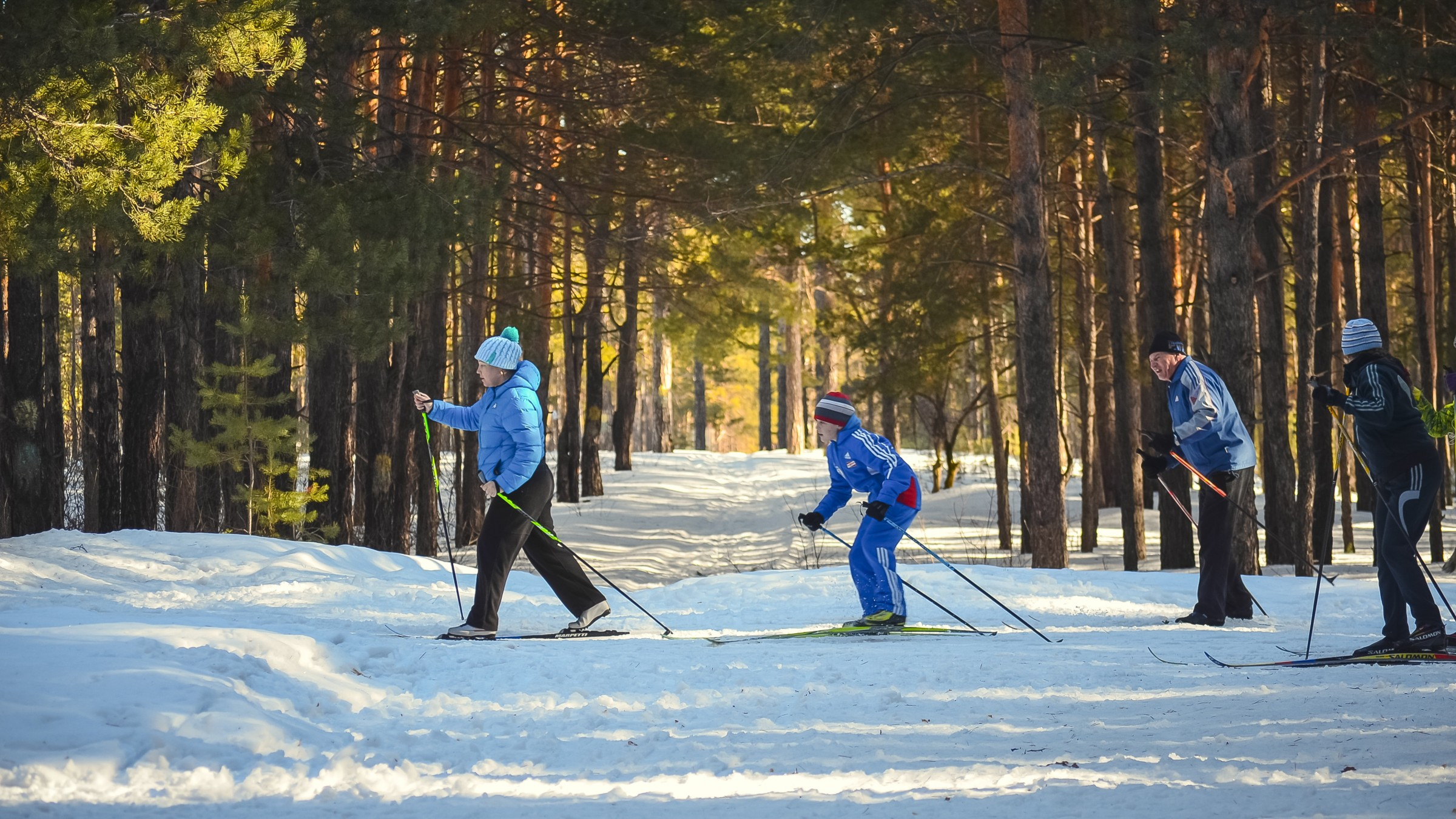Family cross country skiing