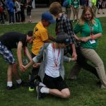 Teens doing a team building activity
